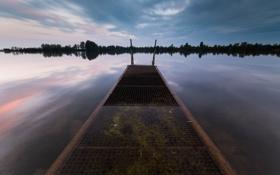 Картинка пейзаж, закат, мост, озеро