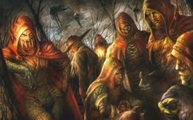 Обои Soul Sacrifice, ворон, люди, маски, деревья, капюшон, трупы
