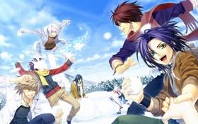 Картинка зима, небо, облака, снег, елки, аниме, арт
