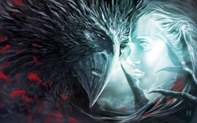 Картинка морда, девушка, птица, монстр, клюв, арт, когти