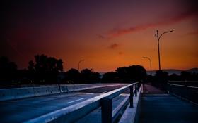 Картинка дорога, небо, вечер, фонари