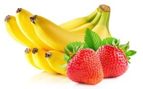 Обои ягоды, клубника, бананы, фрукты