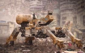 Обои фантастика, мусор, робот, руины, трущобы