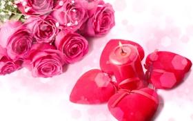 Обои цветы, розы, свеча, букет, сердца, красные, розовые
