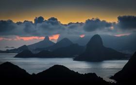 Обои облака, горы, залив, сумерки, Бразилия, Рио-де-Жанейро, Нитерой
