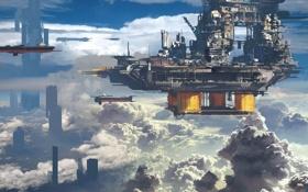 Обои облака, город, корабли, арт, в небе, сооружиение