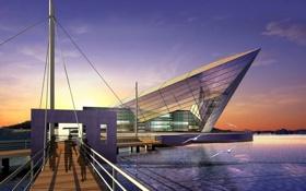 Картинка небо, город, озеро, здание, вечер, архитектура, проект