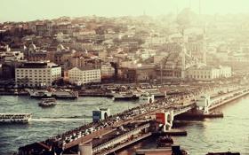 Обои город, река, речка
