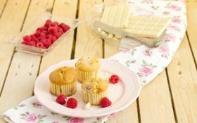 Обои плитки, шоколад, еда, малина, ягоды, кексы, белый