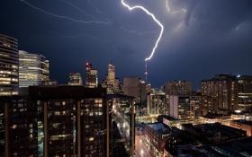 Картинка ночь, молния, вид, красота, Город