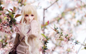 Картинка девушка, цветы, кукла, сумка