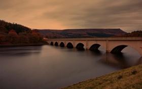 Картинка осень, деревья, мост, река, холмы, арки