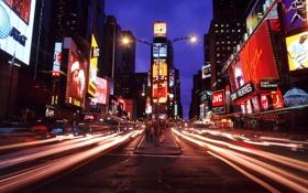 Обои нью-йорк, ночной город, мегаполис, таймс-сквер