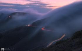 Обои следы, туман, выдержка, photographer, горная дорога, Kenji Yamamura