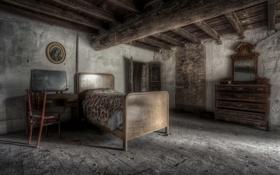 Картинка комната, кровать, дверь