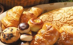 Картинка корзина, шоколад, хлеб, пончики, сдоба, выпечка, булочки