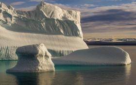 Обои ледник, айсберги, холод, льдины, море