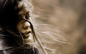 Картинка дети, лицо, фон, ветер, обои, настроения, волосы
