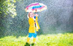 Картинка дождь, зонт, девочка, ребёнок