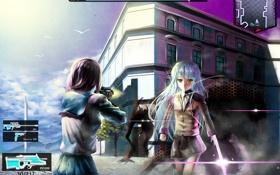 Картинка птицы, оружие, девушки, здания, angel beats!, tachibana kanade, nakamura yuri