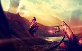 Картинка озеро, креатив, обезьяна, desktopography