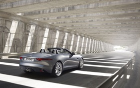 Обои серебристый, родстер, Jaguar, F-Type, Ф-тайп, вид сзади, фон