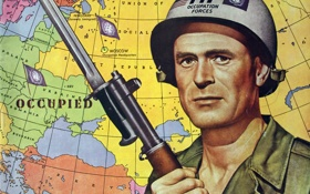 Обои карта, солдат, 1951, ООН, обложка журнала, Russia's defeat and occupation 1952-1960, October 27
