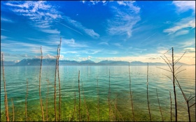 Обои небо, вода, облака, горы, ветки, гладь, даль
