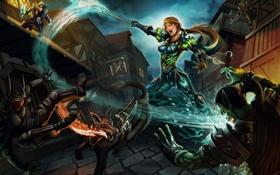 Обои девушка, ночь, город, оружие, арт, World of Warcraft, битва