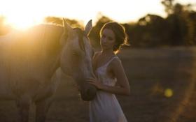 Обои закат, девушка, свет, конь