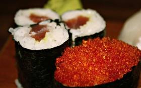 Обои икра, вкусно, суши