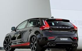 Обои машина, Volvo, black, задок, V40, Heico Sportiv