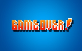 Обои надпись, gameover, wallpaper, синий фон, over, game