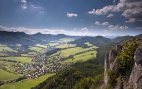 Обои трава, пейзаж, горы, камни
