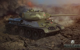 Обои tank, СССР, USSR, танк, T-34-85, танки, дым