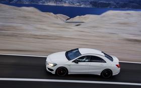 Картинка Mercedes-Benz, Дорога, Белый, Машина, Седан, AMG, В Движении