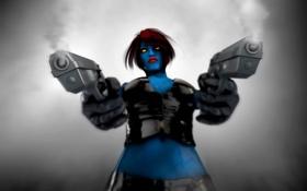 Обои взгляд, оружие, Mystique, X-Men, marvel, красные волосы, Raven