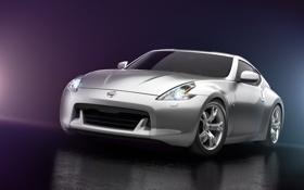 Обои свет, серебристый, Nissan, блик, ниссан, 370z, silvery