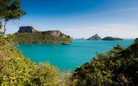 Картинка море, лес, острова, пейзаж, природа, Таиланд, Koh Samui