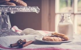 Картинка молоко, печенье, корица