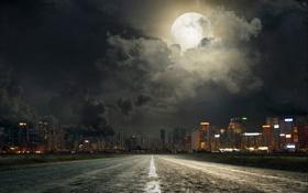 Обои дорога, ночь, город, огни, разметка, луна