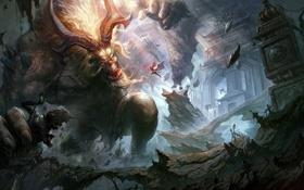 Обои обломки, скалы, монстр, воин, арт, рога, храм