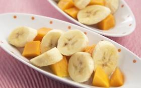 Обои бананы, кусочки, фрукты, ломтики, дольки, папайя