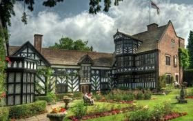 Картинка цветы, парк, здание, Англия, сад, England, Gawsworth