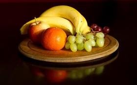 Обои яблоко, еда, виноград, бананы