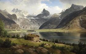 Обои деревья, пейзаж, горы, река, камни, берег, картина