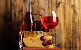 Обои вино, корзина, сыр, виноград