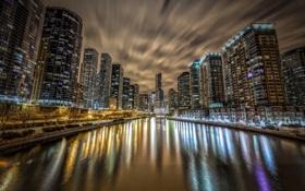 Обои ночь, отражение, река, chicago, illinois