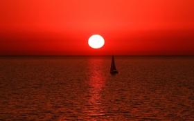 Обои море, пейзаж, закат, лодка, парус