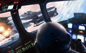 Картинка космос, самолет, корабль, панель, шлем, кабина, пилот